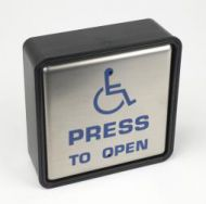 "4.5"" Square Push Pad Hardwired ""PRESS TO OPEN"" With Disabled Logo"